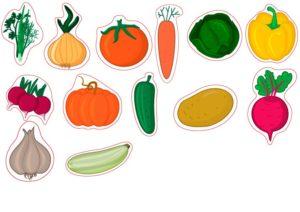 Шаблон овощи из бумаги