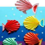 Рыбки гармошкой из бумаги