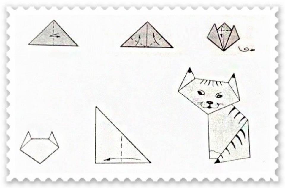Шаблон кошки из бумаги