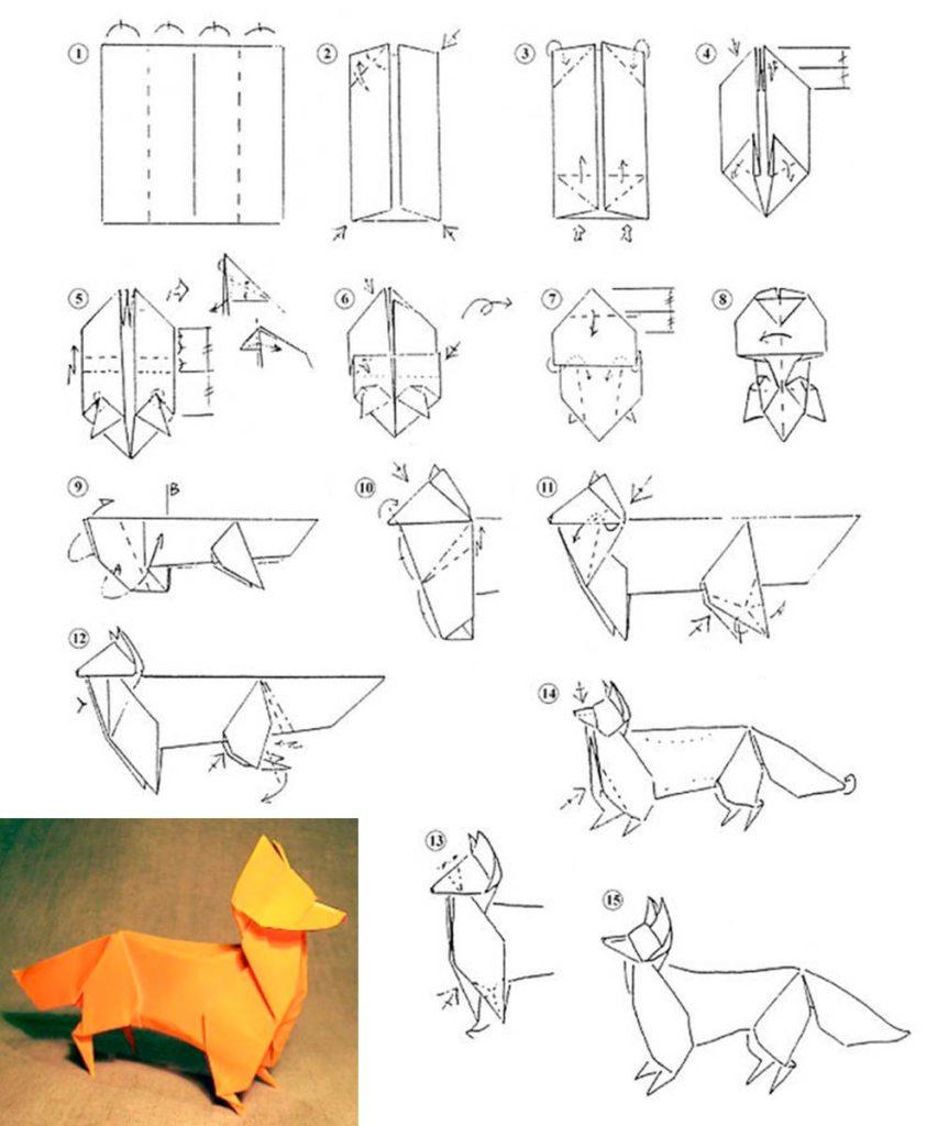 Лиса из бумаги оригами -схема как делать