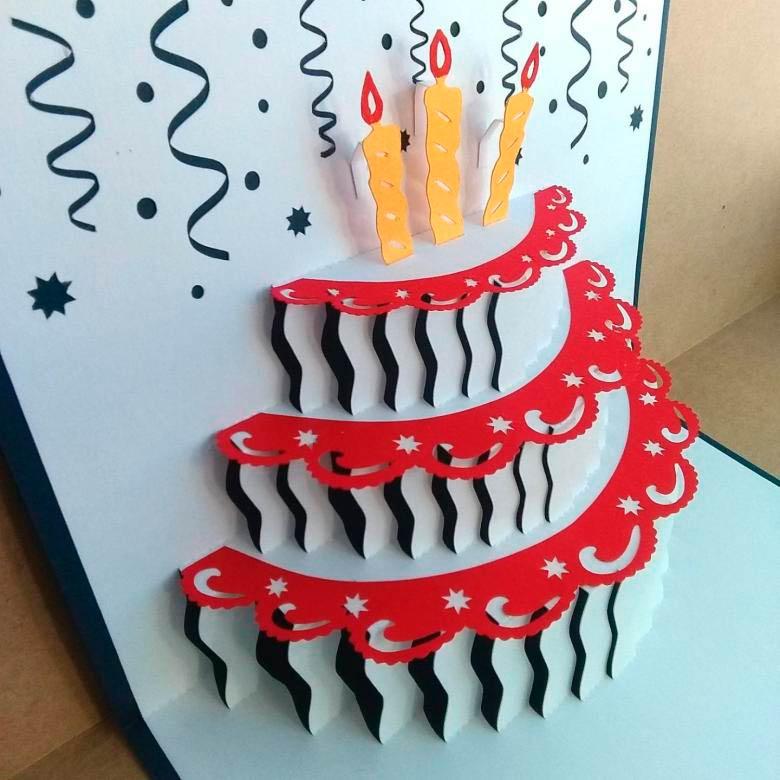 как сделать открытку торт объемную