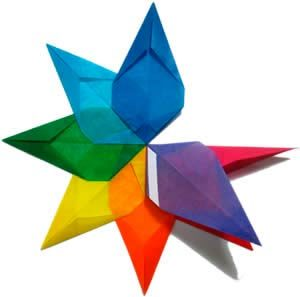 Бумажная звезда, поэтапно