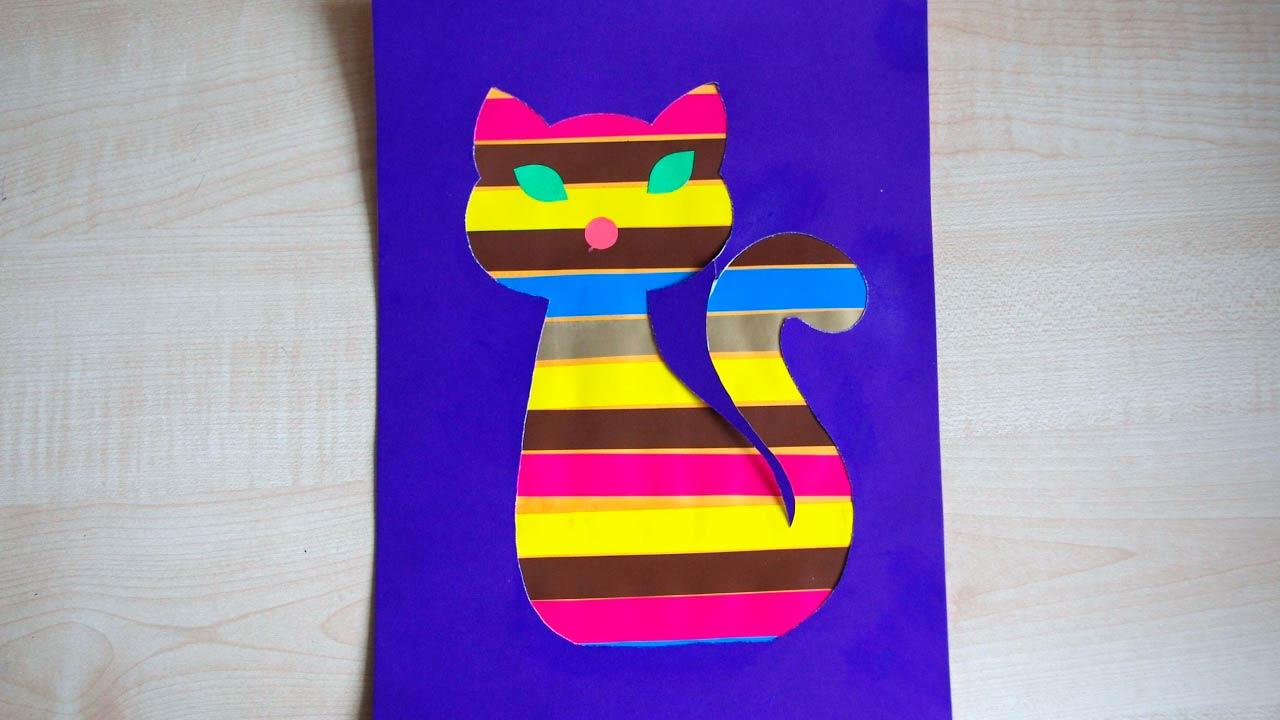 Аппликация кошки из бумаги: из геометрических фигур, из ...
