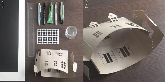 Макет дома из бумаги