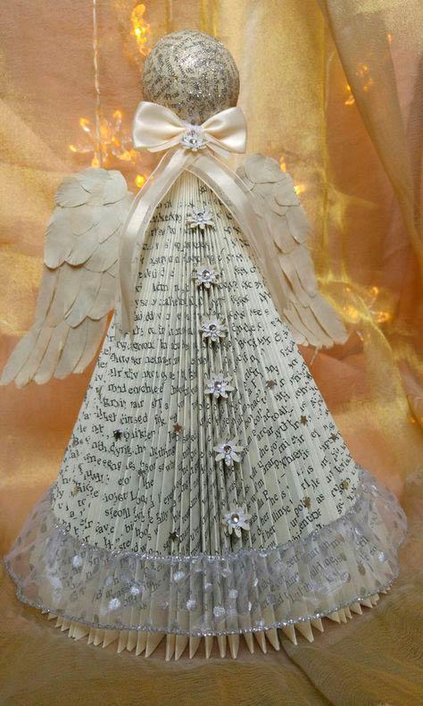 Новогодняя игрушка «Ангелочек» с крыльями из бумаги