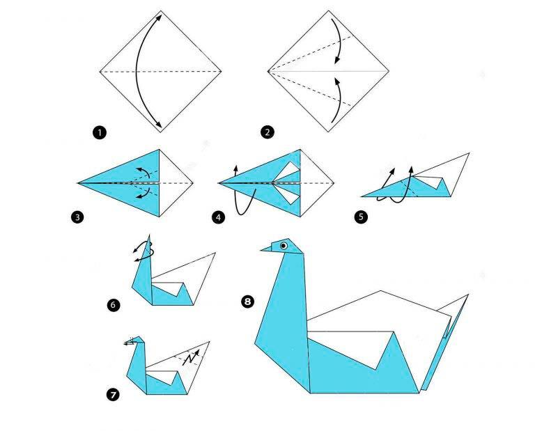 Складывание лебедя оригами из цельного листа