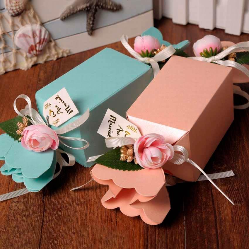 Варианты конфет из картона декорированные цветами
