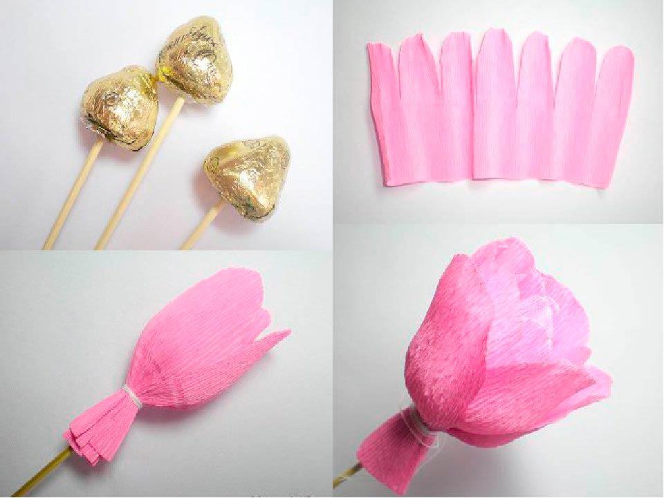 Работа по изготовлению «шоколадного цветка»