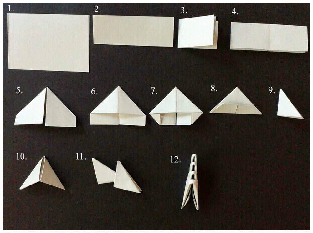Формирование модулей оригами из бумаги