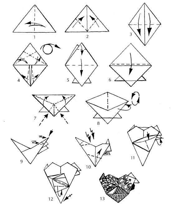 Схема курочки оригами