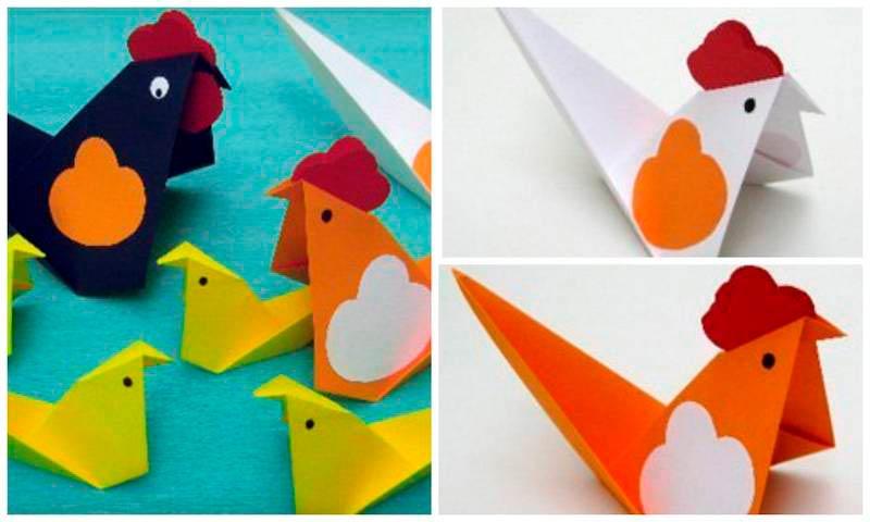 Схема курочки оригами с аппликацией