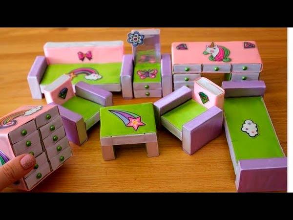 Варианты отделки мебели из спичечных коробков