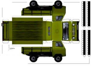 Шаблон грузовой машины для вырезания и склеивания