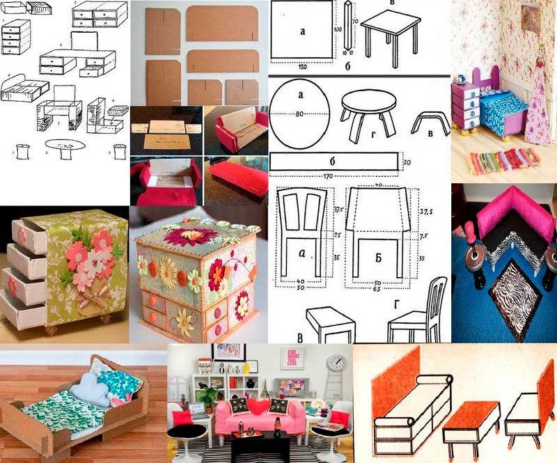 Варианты изготовления и декорирования мебели из спичечных коробков и картона