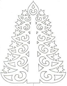 Шаблон елочки для вырезания/раскраски