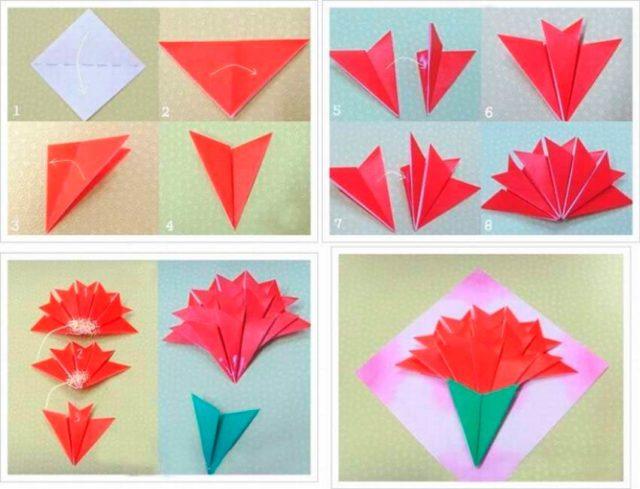 Цветы Гвоздики оригами