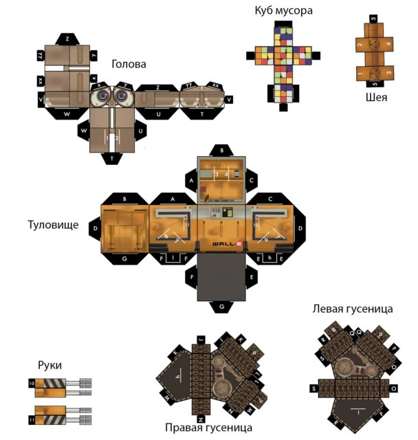 Робот Валли из бумаги, схема, шаблон, развертка