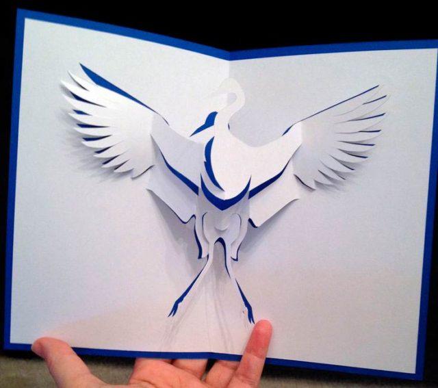 Птичка киригами