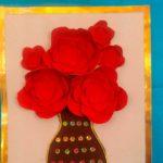 Цветы в вазе из бархатной бумаги