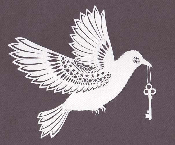 Шаблон птички киригами