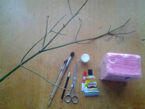 Материалы для изготовления веточки сакуры
