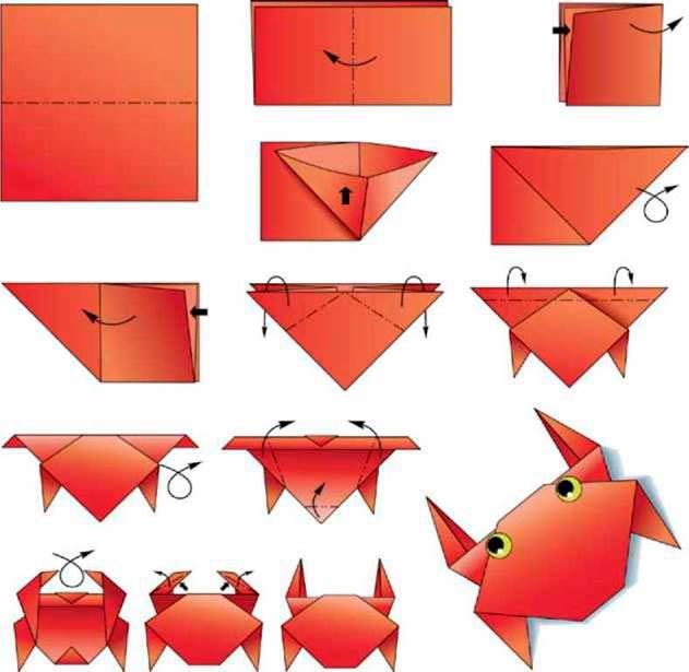 Схема краба оригами
