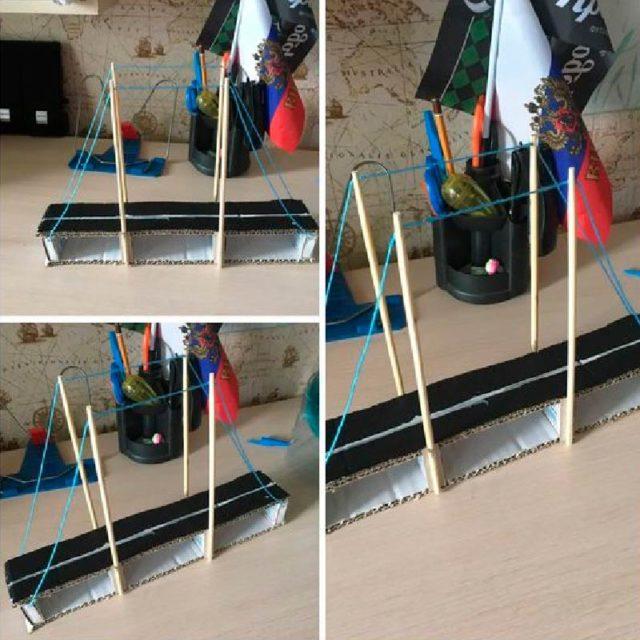Подвесной мост с нитками
