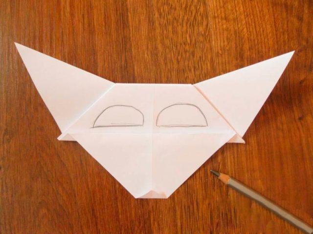 Создание маски волка оригами