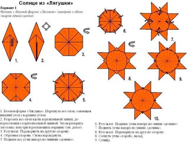 Схема солнца оригами