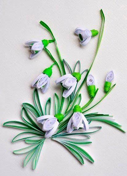 Цветы подснежника в технике квиллинг