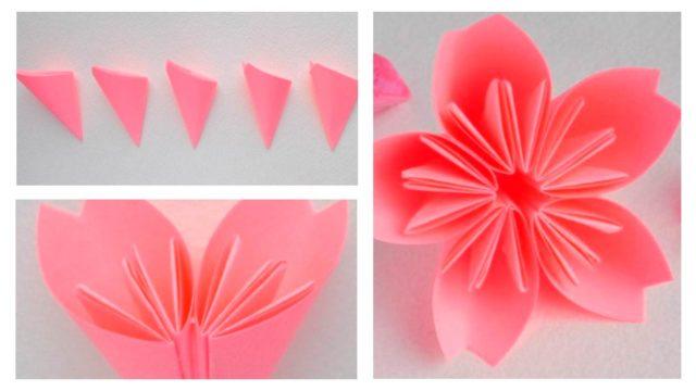 Схема сборки оригами цветков сакуры
