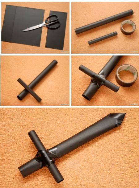 Большой меч из бумаги и картона