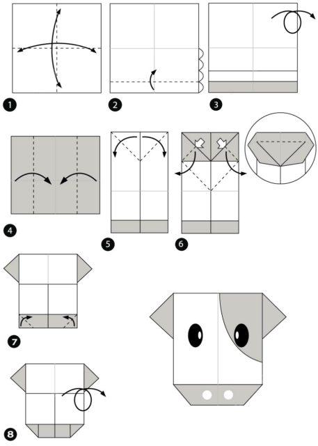Схема бычка оригами