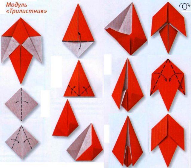 Цветы подснежника в технике оригами