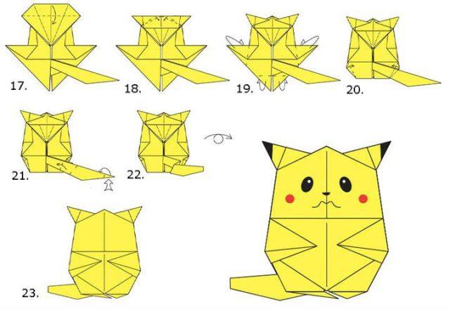Схема оригами покемона пикачу