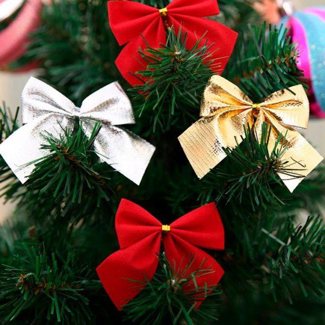 Украшения для новогодней ёлки бантиками