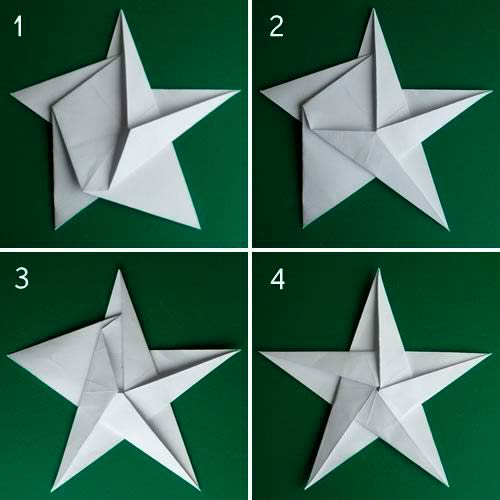 схема складывания звезды оригами