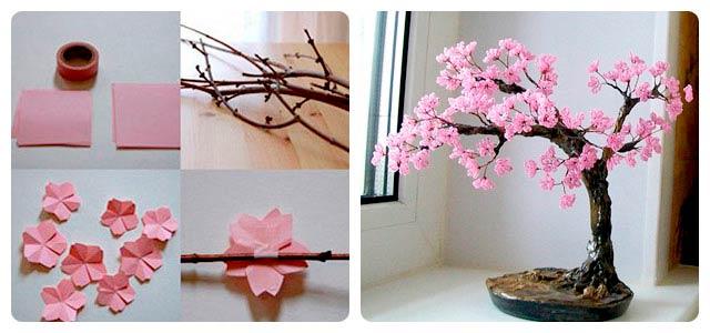 Дерево сакуры с цветами