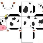 Шаблон коровки, объемные поделки
