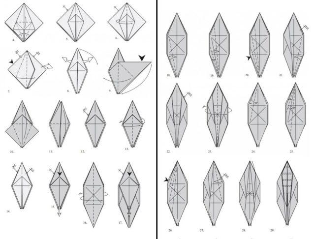 Схема Оригами кузнечик