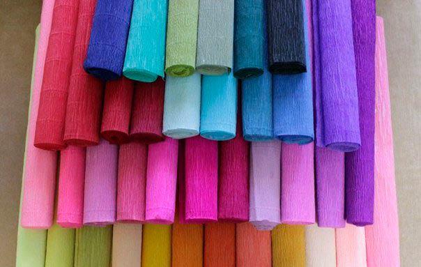 Гофрированная бумага разных цветов