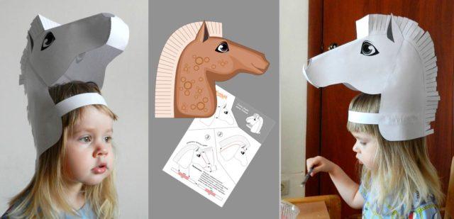 Бумажная лошадка на голову