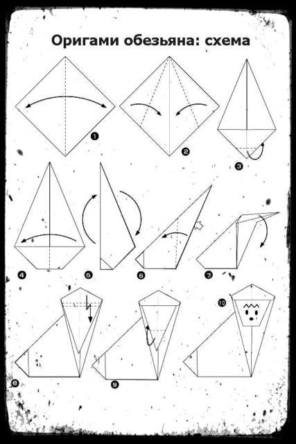 оригами обезьянка