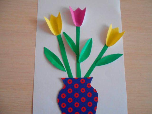 Аппликация вазы с цветами