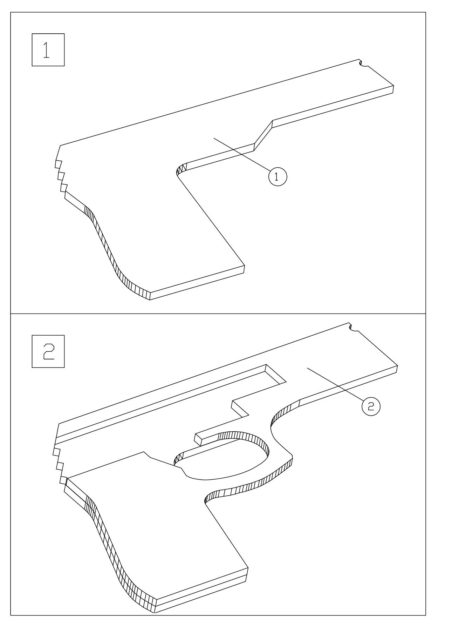 Схема сборки пистолета