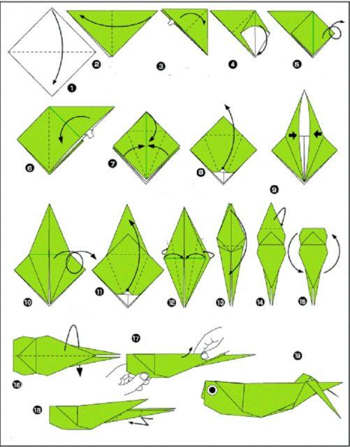 Схема оригами кузнечика