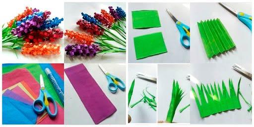 Поэтапное создание букета гиацинтов из бумаги