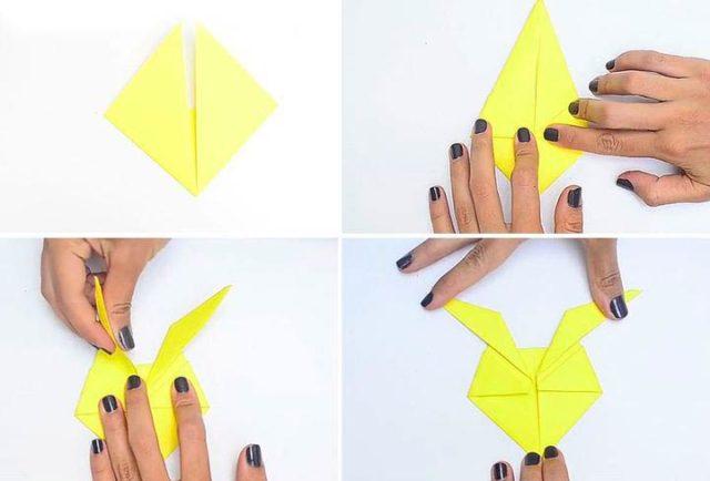 Сборка пикачу в технике оригами