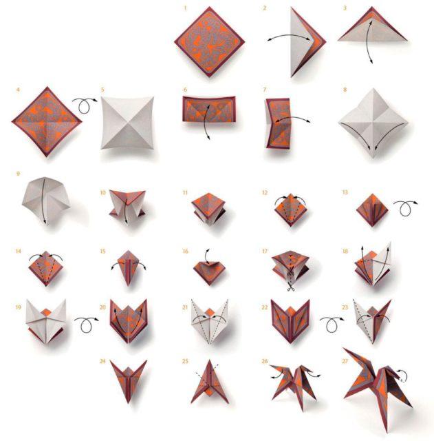 Оригами лошадки, схема