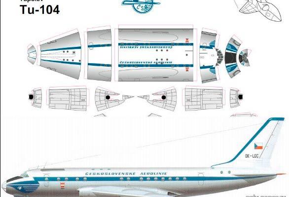 Модель, шаблон самолета из бумаги Ту 104